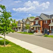 Kansas City suburban residential street with houses