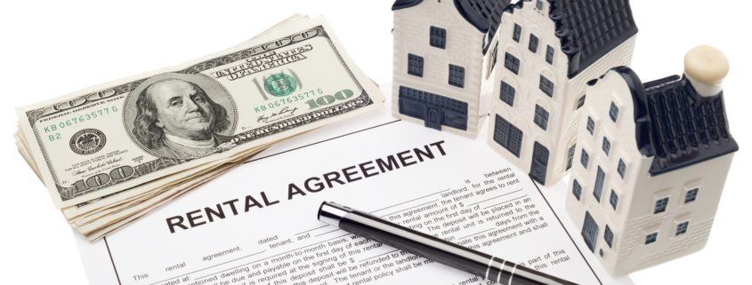 Kansas City House with rental agreement and cash Real estate investment and finance concept
