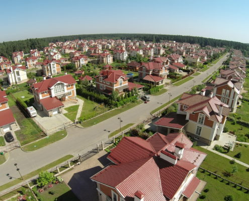 aerial view of houses in kansas city